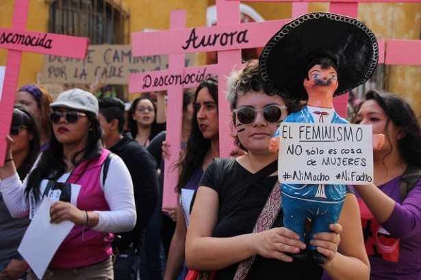 Women marching against sxisim and femicide in Puebla, Mexico on Sunday. (WNV / Ryan Mallett-Outtrim)