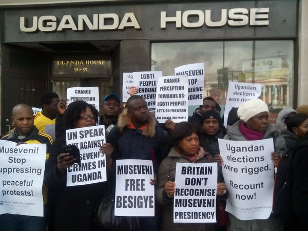 Ugandans in the United Kingdom rallied outside the Uganda House in Trafalgar Square last month. (Twitter / All Equal)
