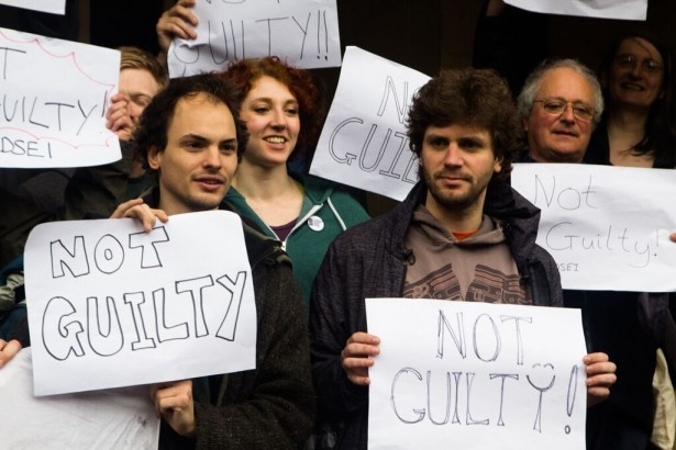 Javier Gárate (right) celebrating along with the other co-defendants after being found not guilty. (WNV/CAAT)