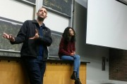Yasmin Yablanko and Khaled Farrag speaking at Brown University last month. (