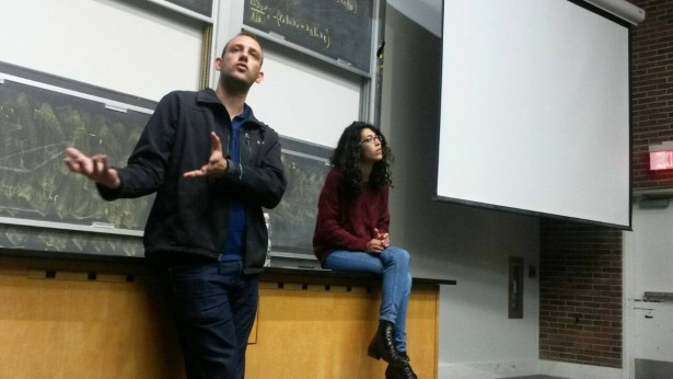 Yasmin Yablanko and Khaled Farrag speaking at Brown University last month. (Facebook / AFSC)