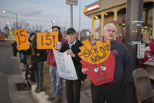 Protesters outside the McDonald's in St. Paul, Minnesota called for a $15 per hour minimum wage, paid sick days and union rights on April 14. (Wikimedia Commons/ Fibonacci Blue)