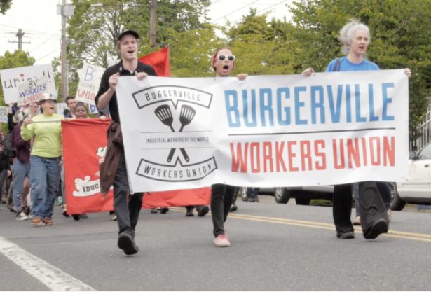 Burgerville workers marching on April 26. (WNV / Shane Burley)
