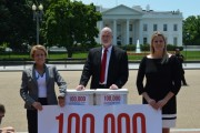 Don Christensen , with Samantha Jackson (right), a civilian victim of military sexual assault, and Navy whistleblower Paula Coughlin (left), attempt to deliver 100,000 petitions