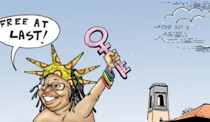 A cartoon depicting Stella Nyanzi's victorious nude protest. (