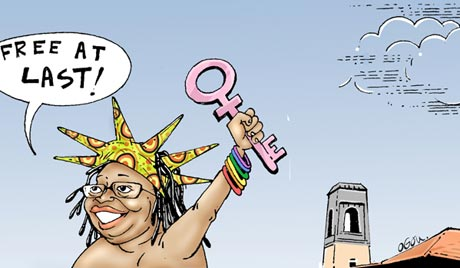 A cartoon depicting Stella Nyanzi's victorious nude protest. (Daily Monitor)