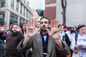 Liberation Sedar protestor  outside the office of the American Israel Public Affairs Committee on April 19, 2016. (Normal / Leonardo March)