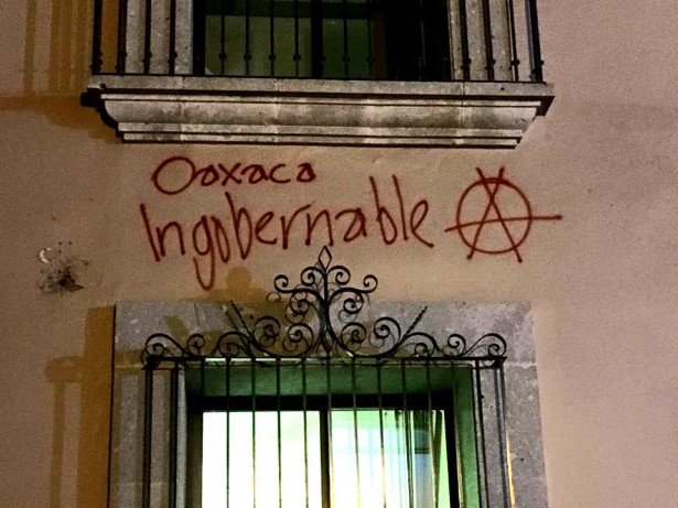 Graffiti appears all over the center of the city after the initial eviction at the State Institute for Oaxacan Education on June 14. (WNV/Chandni Navalka)