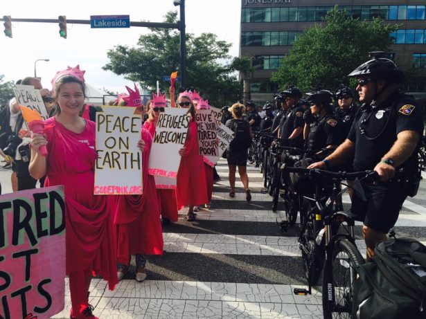 Code Pink activists dressed as Lade Liberty at the RNC in Cleveland. (Facebook/Code Pink)