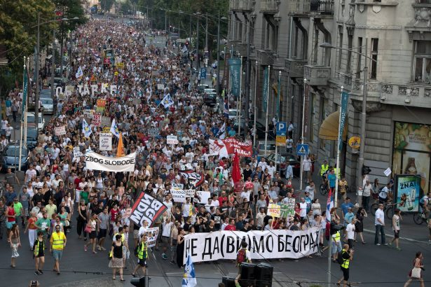Thousands of protesters marched through Belgrade on Wednesday, July 14. (Facebook / Ne Da(vi)mo Beograd)