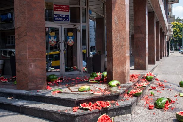 Protesters threw watermelons on the steps of the Municipal Police Department to protest the arrest of a watermelon vendor. (Facebook / Ne Da(vi)mo Beograd)