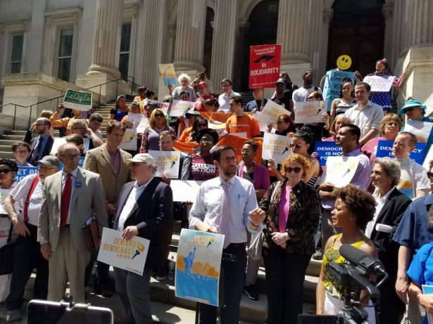 """New York State Sen. Squadron at the """"Demand Democracy"""" rally on May 26. (Twitter/@DanielSquadron)"""