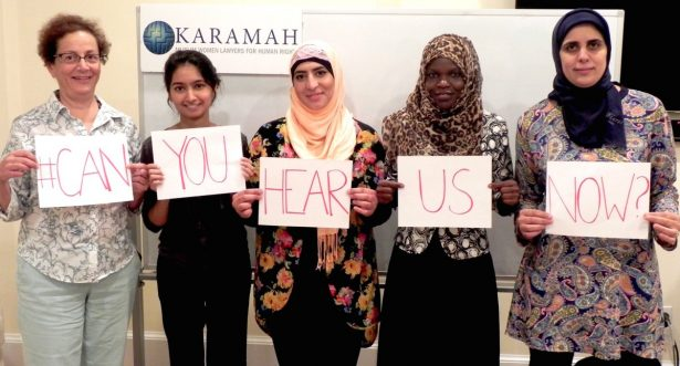 Members of the human rights group Karamah supporting the #CanYouHearUsNow Twitter campaign. (Twitter / @KaramahDC)