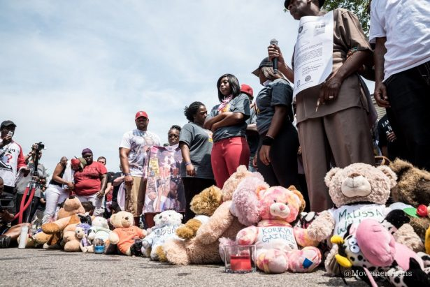 A memorial of teddy bears for those killed by police on the second anniversary of the killing of Michael Brown in Ferguson, Missouri. (Twitter/Movement Lens)