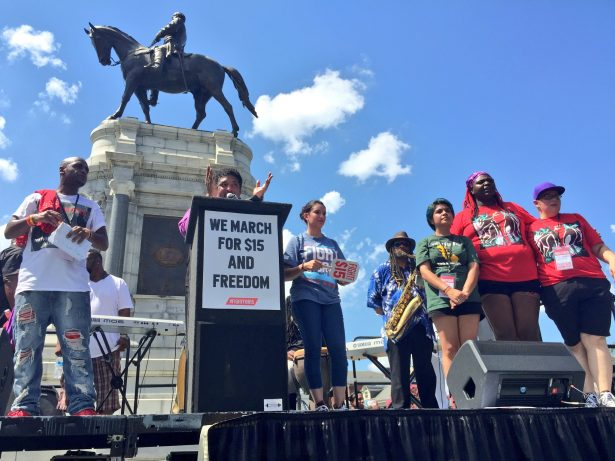 Rev. Barber speaking speaking in front of Confederate monument in Richmond, Virginia. (Twitter / Fight for $15)