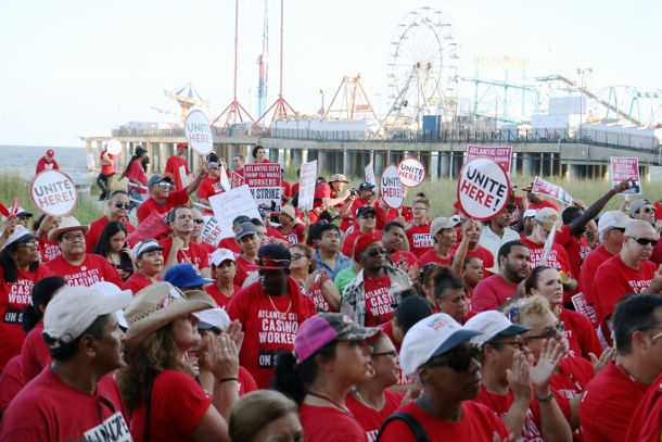 Around 1,500 union members attended a rally in support of the Taj Mahal workers on July 21, the same evening of Donald Trump's acceptance speech at the Republican National Convention. (UNITE HERE Local 54)