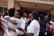 Activists embrace one another, having succeeded in demanding their arrest. (WNV/Women's Movement)