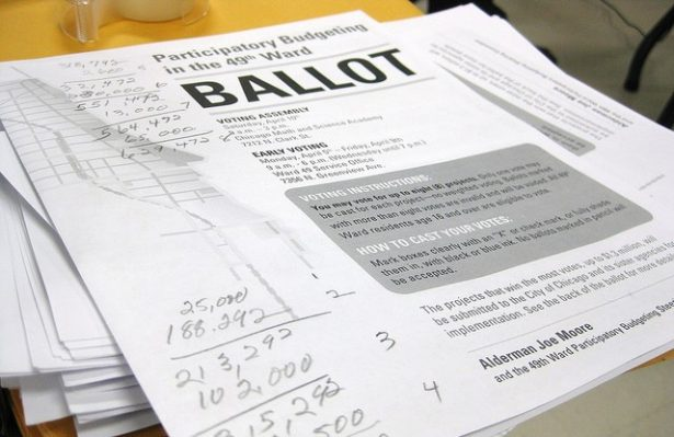 An example of a participatory budgeting ballot from 2010 used in Chicago's 49th Ward. The area was the first in the U.S. to adopt the process. (Participatory Budgeting Project)