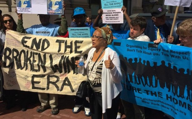 Agnes Johnson of New Yorkers Against Bratton speaking outside 1 Police Plaza. (WNV/Ashoka Jegroo)
