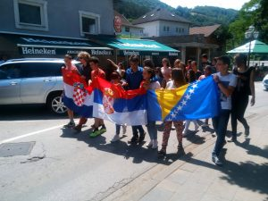 an ethnically-mixed group of nine high school students marched through the streets in Jajce on July 8. (Facebook / JAJCE ONLINE)