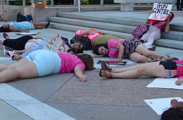 WERK for Peace participating in a die-in. (WNV / Jean White)