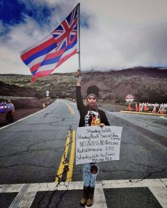 Mauna Kea protectors show solidarity with Standing Rock. (Facebook / Volcano Hideaways)