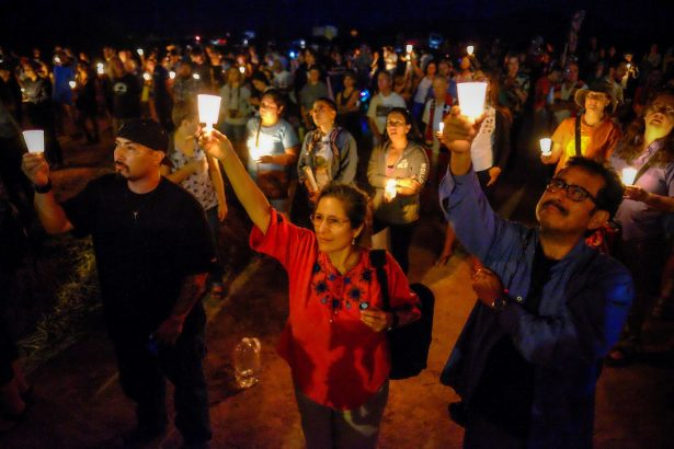 Vigil outside Eloy Immigration Detention Center on October 8. (Facebook / SOA Watch)