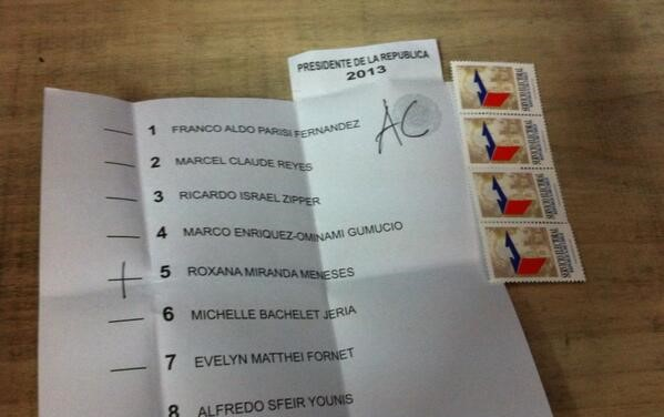 """A 2013 ballot for president with """"AC"""" marked in the corner for a constituent assembly. (Twitter/@generacion80)"""