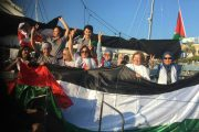 The Women's Boat to Gaza activists celebrate after their release from Israeli prison. (Twitter/@GazaFFlotilla)