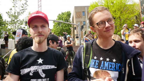 Two young Trump supporters, Matt Duffy (left) and Volodymyr Kolychev, at a Portland State University Students for Trump event in April. (WNV / Shane Burley)