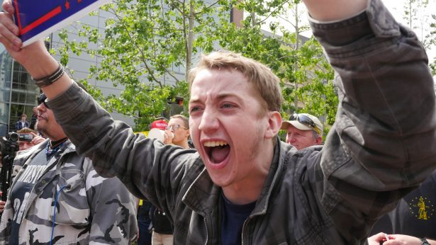 A Trump supporter at an April PSU Students for Trump event. (WNV / Shane Burley)