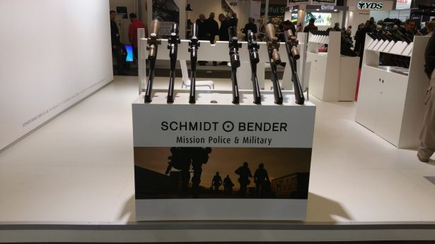 Exhibition stand selling police and military line of assault rifles at Milipol 2015. (WNV/Anna Feigenbaum)