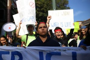 Students led a protest against the Dakota Access Pipeline in Berkeley last Tuesday. (WNV / Power Shift Network)