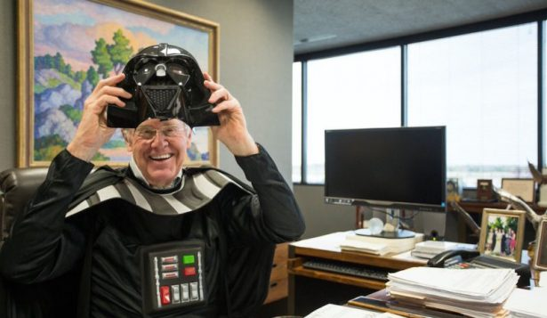 David Koch dressed as Darth Vader not just once, but twice, for Halloween. (Twitter / Koch Industries)