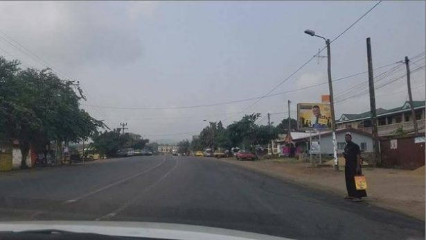 "Streets void of usual traffic on a typical ""ghost town"" day in Buea, one of the chief towns in Anglophone Cameroon."