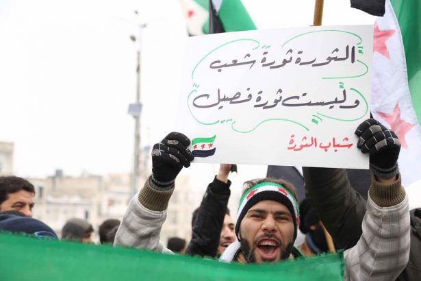 Protester carries sign in Idlib for people's revolution.