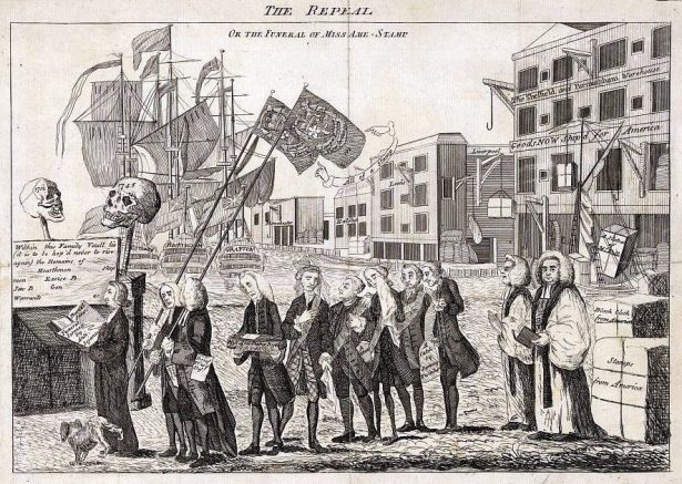 The Stamp Act is put to rest in a funeral procession.