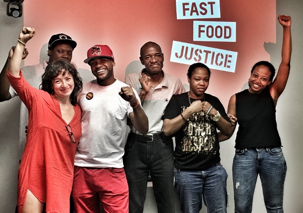 Fast food workers and Fast Food Justice board members.
