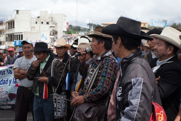 Members of the indigenous municipality of Sololá address the crowd.